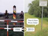 """innerdeutsche Grenze bei Ellrich (Thüringen, DDR), Grenzübergang für Eisenbahn Güterverkehr; hinter dem Grenzzaun sog. """"Beschauerbrücken"""" der DDR Grenztruppen nachher: 1007270591 (2012)  - 01.01.1982-31.12.1982"""