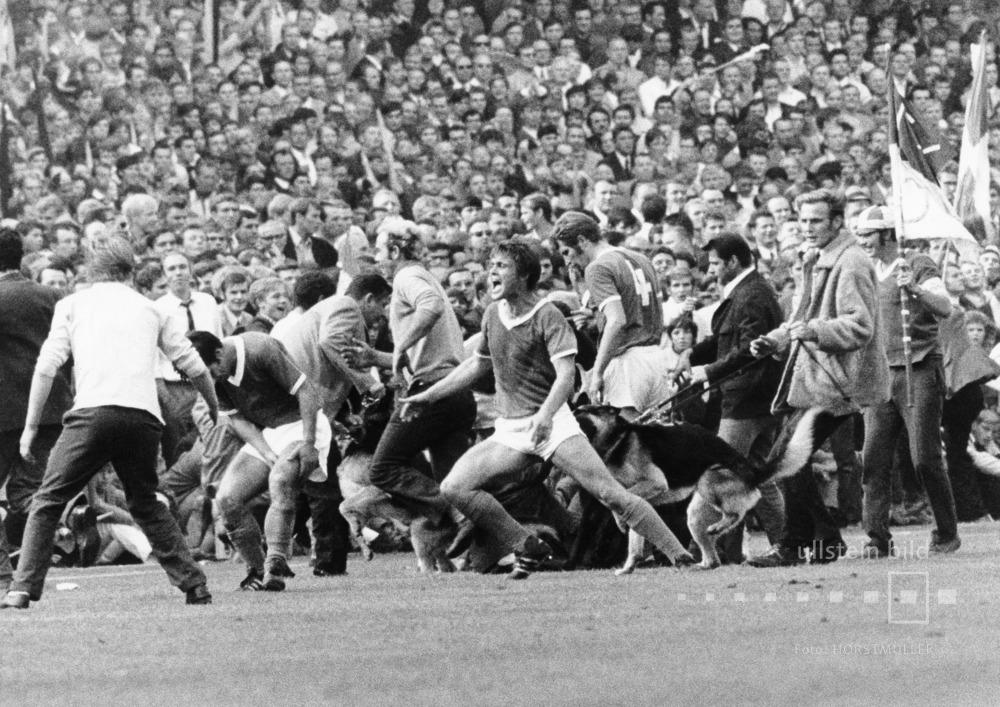 Fussball, 1. Bundesliga 1969/70, Borussia Dortmund - FC Schalke 04: Friedel Rausch (Schalke 04, Mitte) wird von einem Schäferhund am Spielfeldrand in das Gesäß gebissen.
