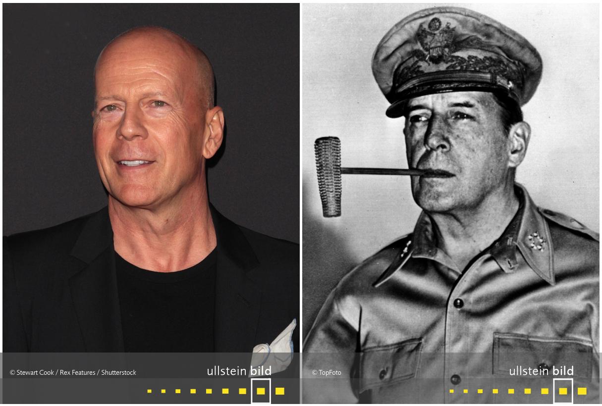 zu den Originalfotos von Bruce Willis & General Douglas MacArthur