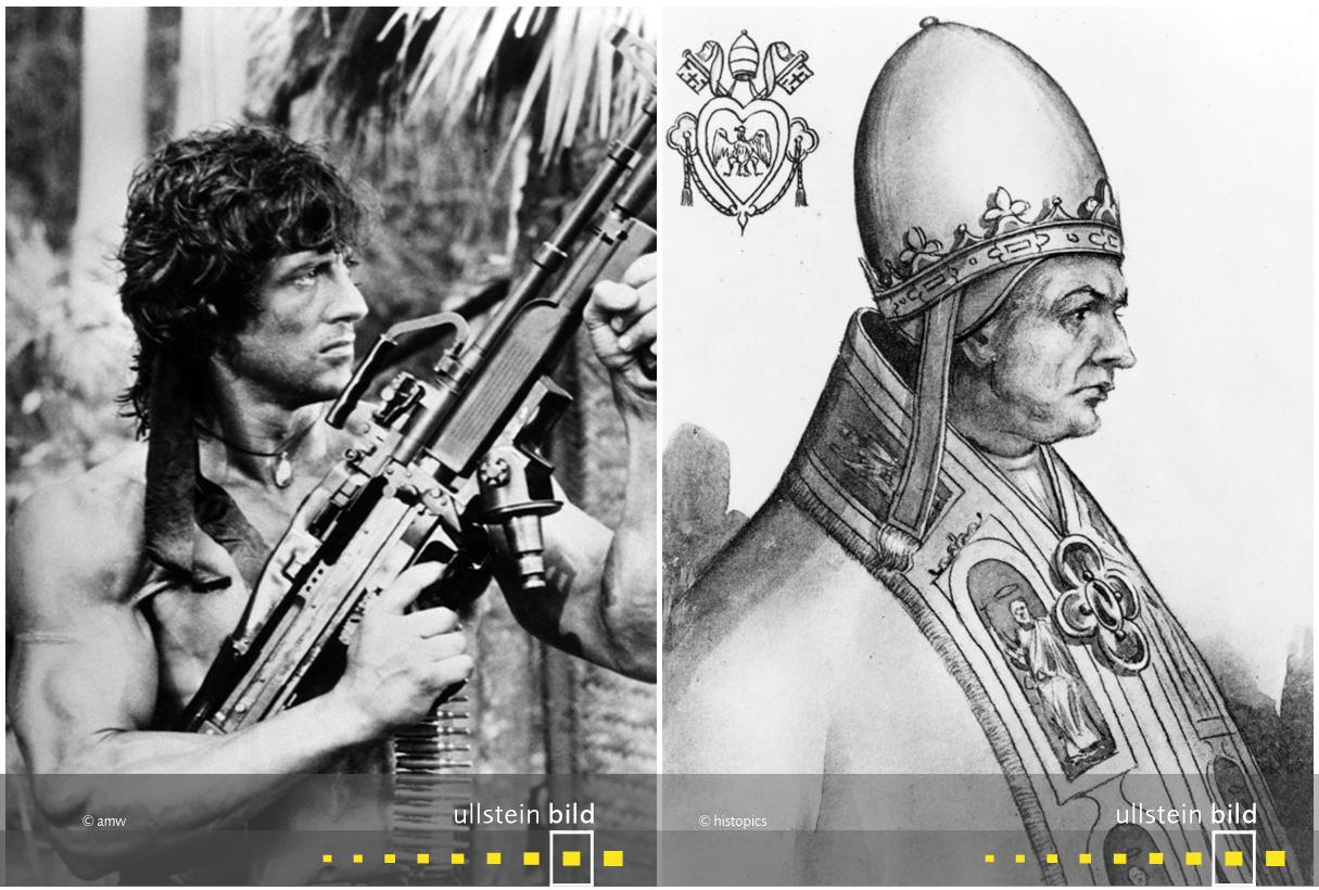 zu den Originalfotos von Sylvester Stallone & Papst Gregor IX.