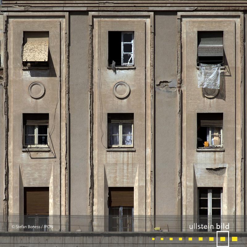 Asmara: Fassadendetail vom ehemaligen Palazzo Minneci von Francesco Botteri vom Studio Carlo Marchi 1939 erbaut