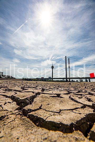Rhine near Düsseldorf, extreme low water, after the long drought the left bank of the Rhine, near Düsseldorf Oberkassel is dry,