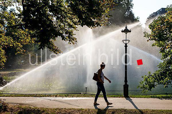 Irrigation of the green areas in the spa garden, Lichtentaler Allee, Baden-Baden, Baden-Württemberg, Germany, Europe