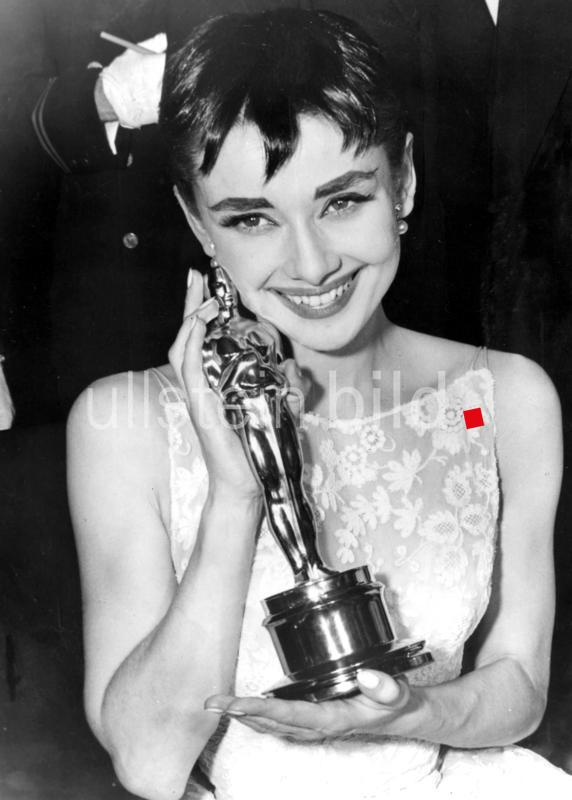 "Audrey Hepburn with her oscar for the film ""Roman Holiday""  1954"