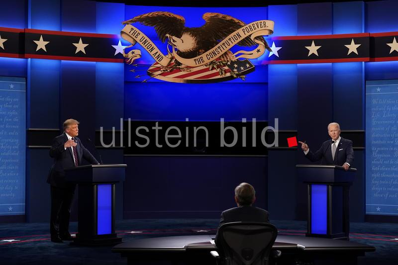 President Donald Trump, left, and Democratic presidential candidate former Vice President Joe Biden, right, during the first presidential debate Tuesday, Sept. 29, 2020.